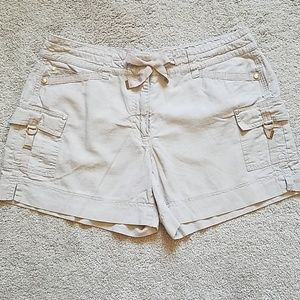 White House Black Market linen khaki shorts